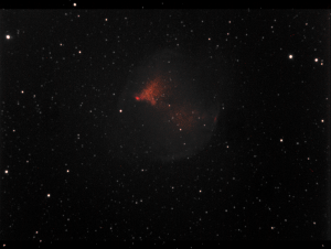 M27 Dumbell Nebula. Not very bright, I need to be more patient and take more exposures